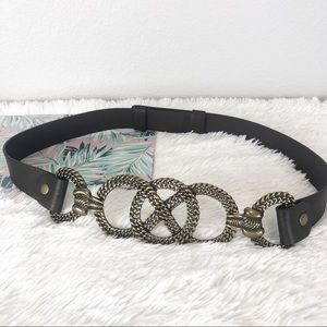 Chico's Accessories - Chico's Leather Brass Art Deco Belt M/L